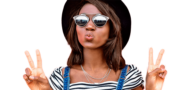 African woman wearing sunglasses pouting and making peace sign with both hands | Msafiri magazine